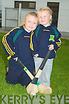 Sarah and Anna McCarthy watching their dad in training for the Kilmoyley Final against Ardfert in Kilmoyley on Thursday evening .