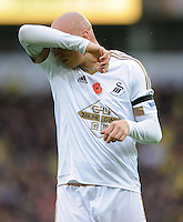Jonjo Shelvey of Swansea City wipes his face during the Barclays Premier League match between Norwich City and Swansea City played at Carrow Road, Norwich on November 7th 2015