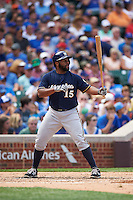 Milwaukee Brewers outfielder Jason Rogers (15) at bat during a game against the Chicago Cubs on August 13, 2015 at Wrigley Field in Chicago, Illinois.  Chicago defeated Milwaukee 9-2.  (Mike Janes/Four Seam Images)