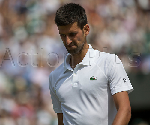 July 6th 2017, All England Lawn Tennis and Croquet Club, London, England; The Wimbledon Tennis Championships, Day 4; Novak Djokovic (SRB) walks to his seat after winning the set against Adam Pavlasek (CZE)