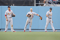 05/20/12 Los Angeles, CA: St. Louis Cardinals left fielder Matt Holliday #7,  center fielder Skip Schumaker #55 and right fielder Carlos Beltran #3 during an MLB game between the St Louis Cardinals and the Los Angeles Dodgers played at Dodger Stadium. The Dodgers defeated the Cardinals 6-5.