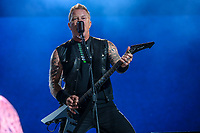 Metallica performs on the main stage of the Festival d'ete de Quebec (FEQ) in Quebec city Friday July 14, 2017.