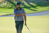 Anirban Lahiri (IND) sinks his putt on 14 during round 4 Singles of the 2017 President's Cup, Liberty National Golf Club, Jersey City, New Jersey, USA. 10/1/2017. <br /> Picture: Golffile | Ken Murray<br /> <br /> All photo usage must carry mandatory copyright credit (&copy; Golffile | Ken Murray)