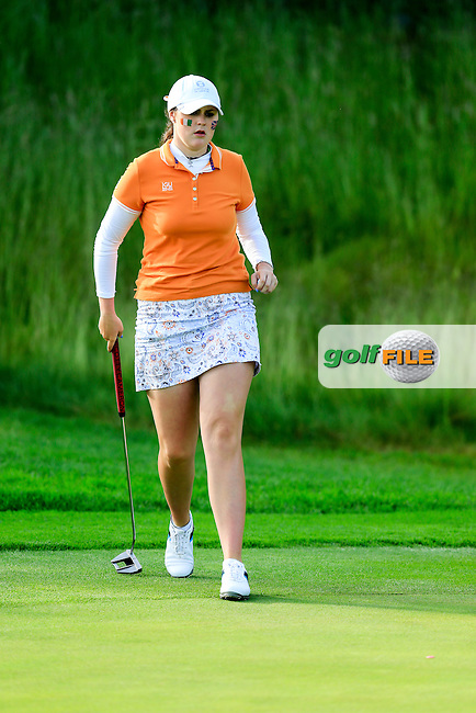 Olivia Mehaffey during the Saturday afternoon fourballs at the 2016 Curtis cup from Dun Laoghaire Golf Club, Ballyman Rd, Enniskerry, Co. Wicklow, Ireland. 11/06/2016.<br /> Picture Fran Caffrey / Golffile.ie<br /> <br /> All photo usage must carry mandatory copyright credit (&copy; Golffile | Fran Caffrey)