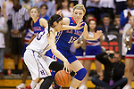 Mar 11, 2015; Portland, OR, USA;  La Salle Prep guard Taycee Wedin defends Sara Ramirez in the 5A Girls Basketball State Championship at Gill Coliseum.<br /> Photo by Jaime Valdez