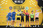 Top riders on the podium at the end of the 2017 Tour de France Skoda Shanghai Criterium, Shanghai, China. 29th October 2017.<br /> Picture: ASO/Pauline Ballet | Cyclefile<br /> <br /> <br /> All photos usage must carry mandatory copyright credit (&copy; Cyclefile | ASO/Pauline Ballet)