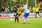 2015-10-25 / Voetbal / seizoen 2015-2016 / KSK Heist - K Lierse SK / Masika Ayub (l. K Lierse SK) met Fausto Santoro<br /><br />Foto: Mpics.be