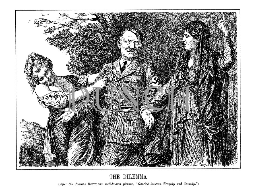 "The Dilemma. (After Sir Joshua Reynolds well-known picture, ""Garrick before Tragedy and Comedy.) (Comedy wearing her dress of 'Co-operation' pulls Hitler away from Tragedy and her 'Isolation' clothes, as Hitler makes it plain that he will choose Comedy)"