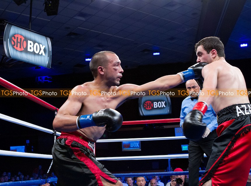 Azat Hovhannesyan (1-1-0, 1 KO) from California in red w/black stripe shorts defeated William Fisher (0-4) from San Diego, California, in black w/red stripe shorts in a 4 round super bantamweight bout by a TKO by referee Marcos Rosales - ShoBox: The New Generation (Showtime network) at the Chumash Casino Resort in Santa Ynez, California, produced by Gary Shaw Productions - 17/2/12 - Dwight McCann/TGSPHOTO - Self billing applies where appropriate - 0845 094 6026 - contact@tgsphoto.co.uk - NO UNPAID USE