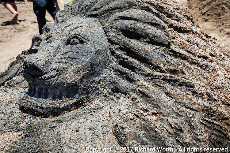 A sand sculpture of a lion at the 51st Annual Sand Castle and Sculpture Contest at Crown Memorial State Beach in Alameda, California.
