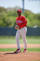 Philadelphia Phillies pitcher Sixto Sanchez (66) gets ready to deliver a pitch during a minor league Spring Training game against the Pittsburgh Pirates on March 24, 2017 at Carpenter Complex in Clearwater, Florida.  (Mike Janes/Four Seam Images)