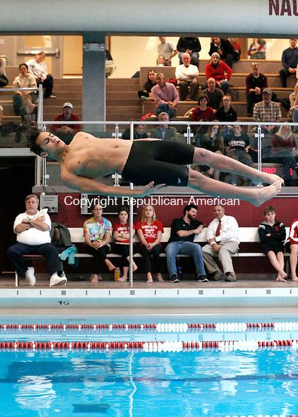 Naugatuck, CT- 22 January 2016-012216CM03-  Naugatuck's Eric Cruz completes a dive during a swim meet against Pomperaug on Friday.      Christopher Massa Republican-American