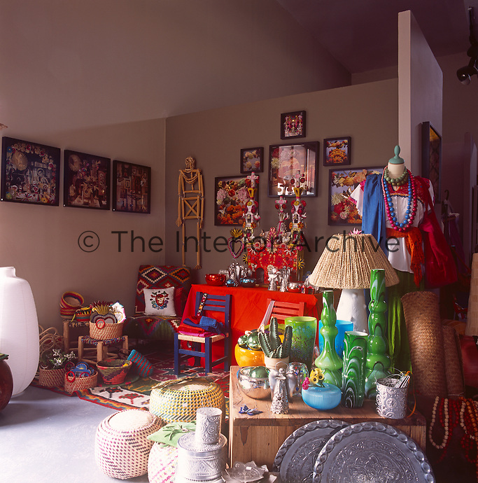 A collection of eclectic items are arranged and grouped together as though in a shop display.