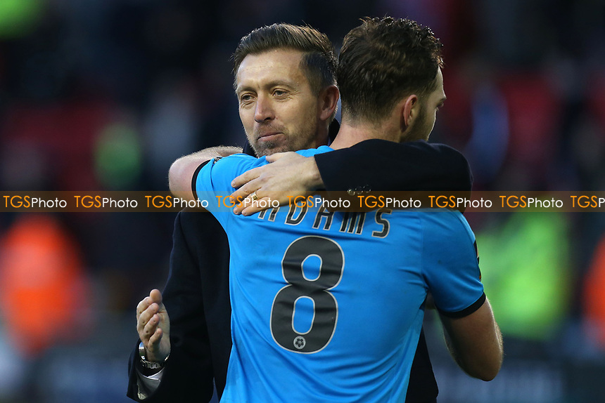 Barnet manager Darren Currie celebrates the victory with Charlee Adams of Barnet after Sheffield United vs Barnet, Emirates FA Cup Football at Bramall Lane on 6th January 2019