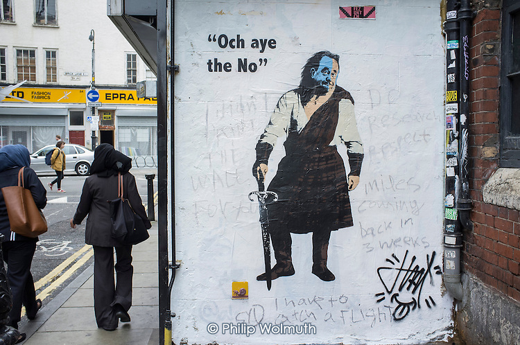 Scottish referendum No vote wall art, Shoreditch, London.