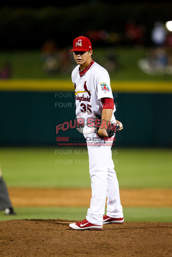 Kevin Thomas (35) of the Springfield Cardinals on the mound during a game against the Tulsa Drillers at Hammons Field on July 18, 2011 in Springfield, Missouri. Tulsa defeated Springfield 13-8. (David Welker / Four Seam Images)