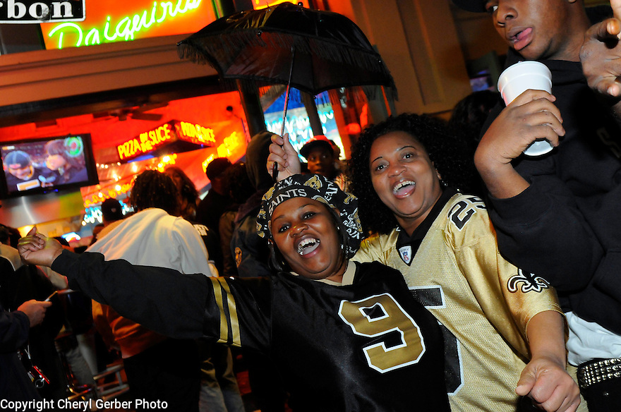 New Orleans Saints fans Sandra Scott and Gwen Barrow celebrate on Bourbon Street after the win of the NFC Championship game against the Minnesota Vikings,  New Orleans, Sunday, Jan. 24, 2010..(AP Photo/Cheryl Gerber)