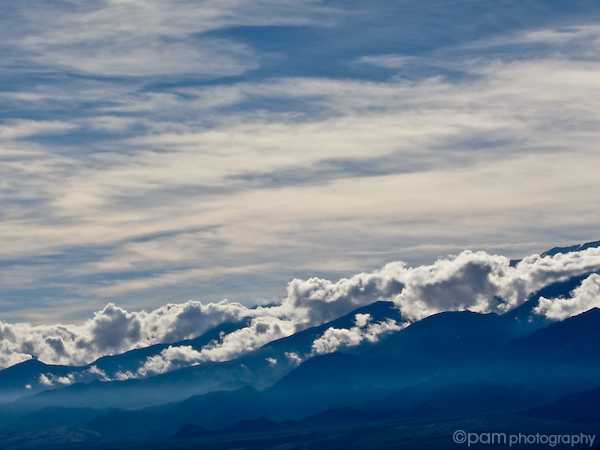 Clouds trapped over mountains in Death Valley, California