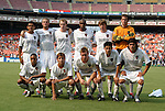 3 July 2004: The MetroStars starting lineup. Front row (l to r) Ricardo Clark, Mike Magee, Chris Leitch, Joselito Vaca, Sergio Galvan Rey. Back row (l to r) Amado Guevara, Jeff Parke, Tim Regan, Eddie Pope, Eddie Gaven, Jonny Walker. DC United defeated the MetroStars 6-2 at RFK Stadium in Washington, DC during a regular season Major League Soccer game..