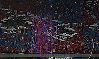 MEDELLÍN -COLOMBIA-23-11-2014. Seguidores de Independiente Medellín muestran su apoyo a su equipo durante partido con Aguilas Pereira durante partido por la fecha 3 de los cuadrangulares semifinales de la Liga Postobón II 2014 jugado en el estadio Atanasio Girardot de la ciudad de Medellín./ Followers of Independiente Medellin show their support to their team during the match against Aguilas Pereira for the  third date of the semifinal quardrangular of Postobon League II 2014 at Atanasio Girardot stadium in Medellin city. Photo: VizzorImage/Luis Ríos/STR
