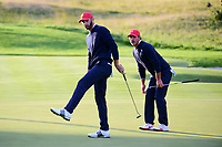 Dustin Johnson (USA) barely misses his putt on 16 during round 3 Four-Ball of the 2017 President's Cup, Liberty National Golf Club, Jersey City, New Jersey, USA. 9/30/2017.<br /> Picture: Golffile | Ken Murray<br /> <br /> All photo usage must carry mandatory copyright credit (&copy; Golffile | Ken Murray)
