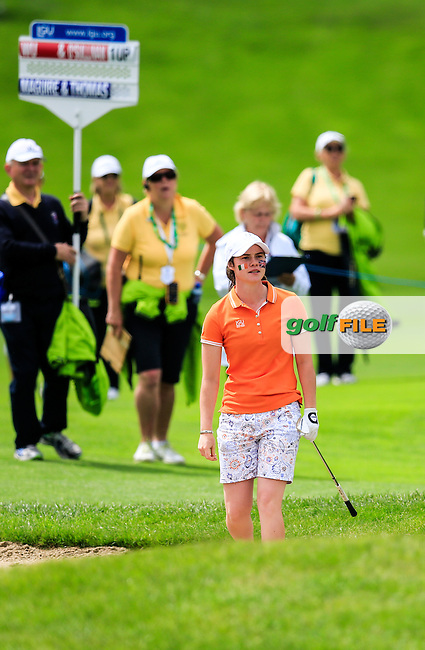 Leona Maguire on the 18th during the Saturday morning foursomes at the 2016 Curtis cup from Dun Laoghaire Golf Club, Ballyman Rd, Enniskerry, Co. Wicklow, Ireland. 11/06/2016.<br /> Picture Fran Caffrey / Golffile.ie<br /> <br /> All photo usage must carry mandatory copyright credit (&copy; Golffile | Fran Caffrey)