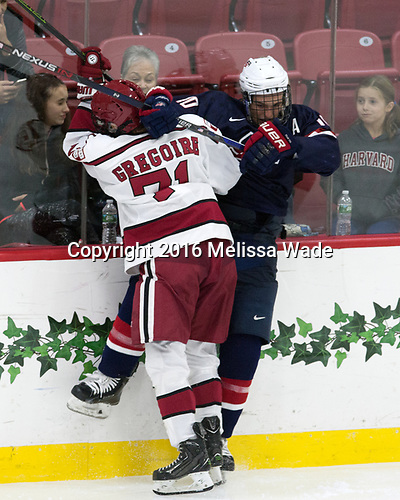 Frédéric Grégoire (Harvard - 71), Scott Reedy (NTDP - 10) - The Harvard University Crimson defeated the US National Team Development Program's Under-18 team 5-2 on Saturday, October 8, 2016, at the Bright-Landry Hockey Center in Boston, Massachusetts.