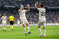 Gareth Bale of Real Madrid celebrating after scoring a goal during the match between Real Madrid v Getafe CF of LaLiga, 2018-2019 season, date 1. Santiago Bernabeu Stadium. Madrid, Spain - 19 August 2018. Mandatory credit: Ana Marcos / PRESSINPHOTO