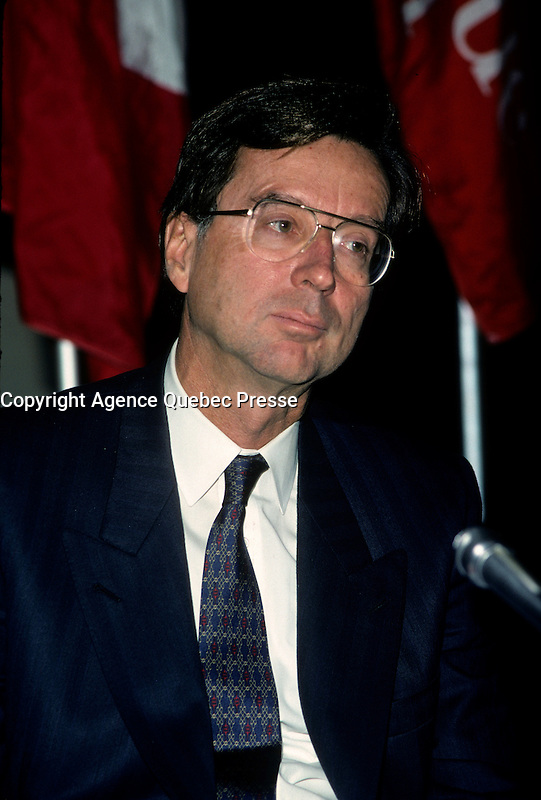 Montreal (QC)CANADA - 1988 File Photo<br /> <br /> Liberal Provincial Leader Robert Bourassa