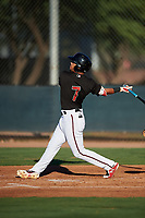 AZL D-backs Ismael Jaime (7) at bat during an Arizona League game against the AZL Angels on July 20, 2019 at Salt River Fields at Talking Stick in Scottsdale, Arizona. The AZL Angels defeated the AZL D-backs 11-4. (Zachary Lucy/Four Seam Images)