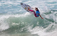 Huntington Beach, CA - Sunday August 06, 2017: Courtney Conlogue during a World Surf League (WSL) Qualifying Series (QS) Semifinal heat in the 2017 Vans US Open of Surfing on the South side of the Huntington Beach pier.