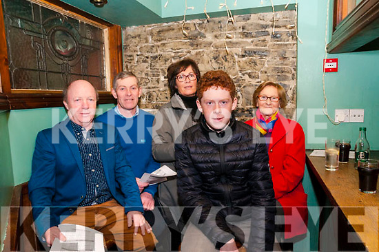 Clonmel Coursing Preview: Attending the Clonmel Coursing preview at the Dew Drop Inn bar, Lixnaw on Sunday evening last were Sean Flaherty, Sheamus, Catriona, Kieran & Kit Walsh, Lixnaw.