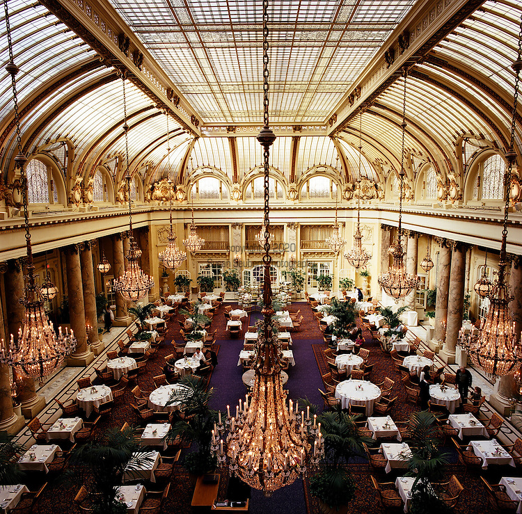 The Garden Court at the Palace Hotel in downtown San Francisco has a ceiling dome made of stained glass and crystal chandeliers from Austria.