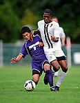 11 September 2009: University of Portland Pilots' midfielder Ricardo Carrillo, a Freshman from Prineville, OR, battles University of Vermont Catamount forward/midfielder T.J. Gore, a Senior from Macomb, MI, in the first round of the 2009 Morgan Stanley Smith Barney Soccer Classic held at Centennial Field in Burlington, Vermont. The Catamounts and Pilots battled to a 1-1 double-overtime tie. Mandatory Photo Credit: Ed Wolfstein Photo
