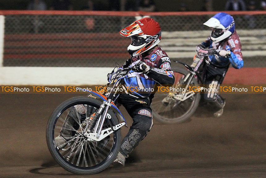 Heat 12: Peter Karlsson (red) and Rob Mear - Lakeside Hammers vs Birmingham Brummies - Sky Sports Elite League Speedway at Arena Essex Raceway, Purfleet - 10/08/12 - MANDATORY CREDIT: Gavin Ellis/TGSPHOTO - Self billing applies where appropriate - 0845 094 6026 - contact@tgsphoto.co.uk - NO UNPAID USE.