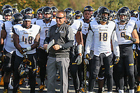 Newark, DE - October 29, 2016: Towson Tigers head coach Rob Ambrose leads his team on the field before the game between Towson and Delware at  Delaware Stadium in Newark, DE.  (Photo by Elliott Brown/Media Images International)