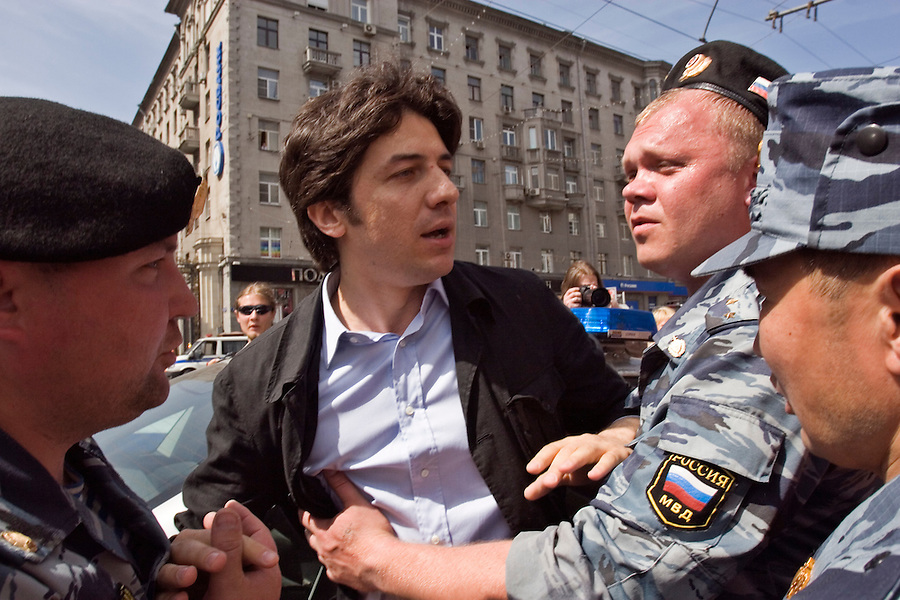 Moscow, Russia, 27/05/2007..Marco Cappato, a European Parliament deputy from Italy, is arrested by riot police.during Moscow's second attempted Gay Pride parade. The parade had already been banned by Moscow Mayor Yuri Luzhkov on the grounds that it would provoke violence, but gay activists attempted to demonstrate in defiance of the ban, and many were beaten by counter demonstrators and arrested by police.
