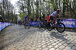 Alexander Kristoff (NOR) UAE Team Emirates, Jack Bauer (NZL) Mitchelton-Scott and Stefan Kung (SUI) Groupama-FDJ on the the first ascent of the Kemmelberg during the 2019 Gent-Wevelgem in Flanders Fields running 252km from Deinze to Wevelgem, Belgium. 31st March 2019.<br /> Picture: Eoin Clarke | Cyclefile<br /> <br /> All photos usage must carry mandatory copyright credit (© Cyclefile | Eoin Clarke)