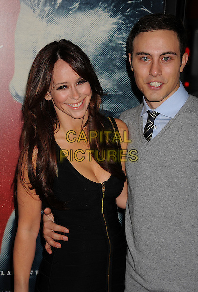 "Jennifer Love Hewitt & Jarod Einsohn.AFI Fest 2011 Opening Night Gala Premiere of ""J. Edgar"" held at Grauman's Chinese Theatre, Hollywood, California, USA..November 3rd, 2011.half length black dress grey gray sweater jumper couple gold zip zipper .CAP/ROT/TM.©Tony Michaels/Roth Stock/Capital Pictures"