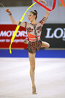 September 21, 2007; Patras, Greece;  Elizabeth Paisieva of Bulgaria turns pirouette with ribbon during All-Around final at 2007 World Championships Patras.  Betty helped Bulgaria to receive the 2nd of 2 positions for the individual All-Around at Beijing 2008 Olympics.  Photo by Tom Theobald. .