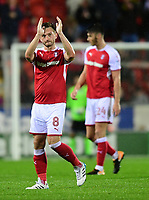 Rotherham United's Lee Frecklington applauds the Lincoln City fans as he leaves the field after being substituted<br /> <br /> Photographer Chris Vaughan/CameraSport<br /> <br /> The Carabao Cup First Round - Rotherham United v Lincoln City - Tuesday 8th August 2017 - New York Stadium - Rotherham<br />  <br /> World Copyright &copy; 2017 CameraSport. All rights reserved. 43 Linden Ave. Countesthorpe. Leicester. England. LE8 5PG - Tel: +44 (0) 116 277 4147 - admin@camerasport.com - www.camerasport.com