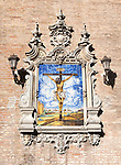 Ceramic tiles used in historic picture of crucifixion of Jesus Christ in Triana, Seville, Spain