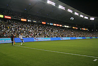 LA Galaxy captain & midfielder David Beckham (23) takes a corner kick. CD Chivas USA defeated the LA Galaxy 3-0 in the Super Classico MLS match at the Home Depot Center in Carson, California, Thursday, August 23, 2007.