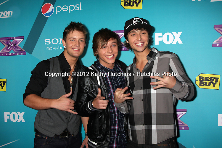 LOS ANGELES - NOV 5:  Emblem3 - Drew Chadwick, Keaton Stromberg, Wesley Stromberg arrives at the X-Factor Season Two FInalist Party at SLS Hotel at Beverly Hills on November 5, 2012 in Los Angeles, CA