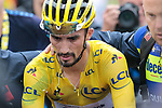 Race leader Julian Alaphilippe (FRA) Deceuninck-Quick Step loses time but retains the Yellow Jersey as he crosses the finish line in 11th place at the end of Stage 15 of the 2019 Tour de France running 185km from Limoux to Foix Prat d'Albis, France. 20th July 2019.<br /> Picture: Colin Flockton | Cyclefile<br /> All photos usage must carry mandatory copyright credit (© Cyclefile | Colin Flockton)