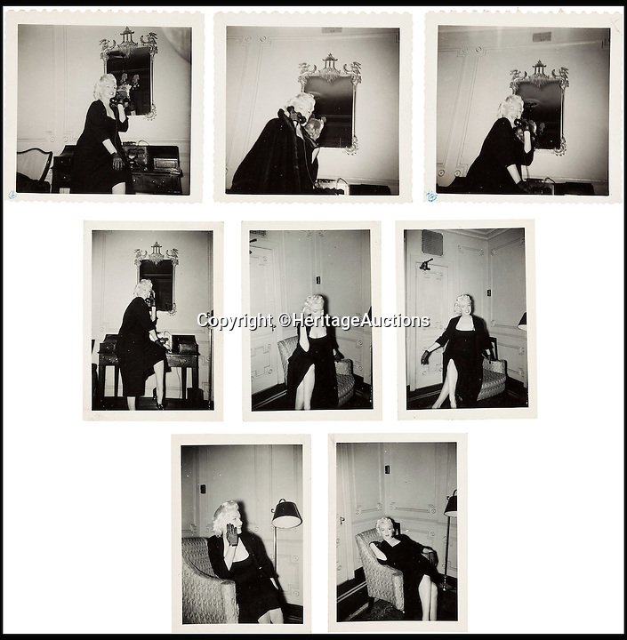 BNPS.co.uk (01202 558833)<br /> Pic: HeritageAuctions/BNPS<br /> <br /> A rare group of black and white images of Marilyn Monroe in 1955, as she sits in the lobby of the Gladstone Hotel.<br /> <br /> A trove of rare and never-seen-before snapshots of Hollywood legend Marilyn Monroe have emerged for sale from the collection of a superfan who spent years following the star.<br /> <br /> The collection of 183 pictures of the pin up were all taken around New York in the mid-1950s by superfan James Collins, a teenager who was a member of the 'Monroe 6'.<br /> <br /> The youngsters were such avid fans Monroe ended up knowing them all by name and allowed them special access to her to take countless photos and signed numerous autographs.<br /> <br /> Collins is now auctioning the 183 photos in 18 lots through Heritage Auctions in Dallas, Texas.