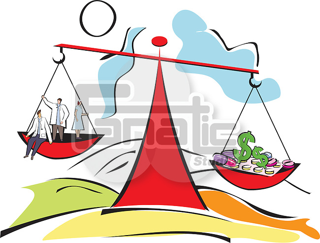 Conceptual image representing doctors and medical expenses with a balance