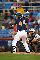 Binghamton Mets catcher Xorge Carrillo (44) at bat during a game against the Trenton Thunder on August 8, 2015 at NYSEG Stadium in Binghamton, New York.  Trenton defeated Binghamton 4-2.  (Mike Janes/Four Seam Images)