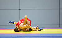11 MAY 2014 - SHEFFIELD, GBR - Philip Roberts attempts to pin his opponent during their 65kg category freestyle match at the British 2014 Senior Wrestling Championships at EIS in Sheffield, Great Britainmen 66kg category) (PHOTO COPYRIGHT © 2014 NIGEL FARROW, ALL RIGHTS RESERVED)