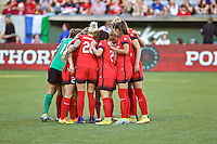 Portland, OR - Saturday July 02, 2016: Portland Thorns FC during a regular season National Women's Soccer League (NWSL) match between the Portland Thorns FC and Sky Blue FC at Providence Park.